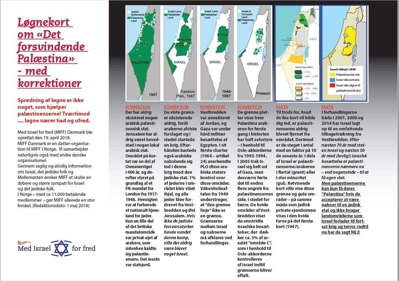 """Løgne-kort om """"Det forsvindende Palæstina"""". (liggende orientation)."""