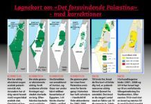 """Løgne-kort om """"Det forsvindende Palæstina""""."""