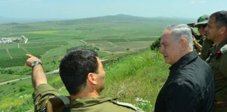 Israels president Reuven Rivlin besøgte soldater på Golan højden tidligere i år. Foto viser Statsministeren Benjamin Netanyahu.