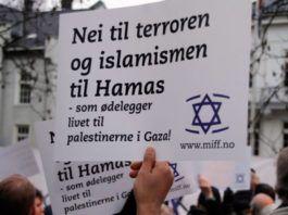 Nej til terror! Parole under MIFFs støttedemonstration for Israel udenfor Israels ambassade i Oslo, november 2012. (Foto: Atle Hansen, MIFF)