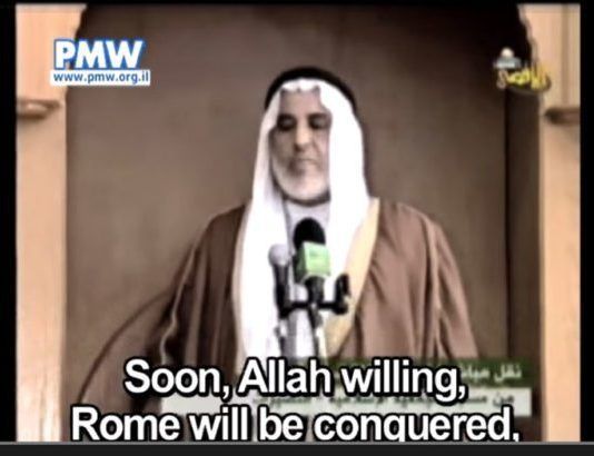 - Snart vil Roma og resten af Europa blive erobret af islam, siger Younus Al-Astal på Hamas-tv 11. april 2008. (Skjærmdump fra Al-Aqsa TV)