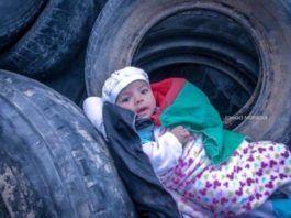 Det yngste palæstinensiske barn, som deltager i demonstrationerne