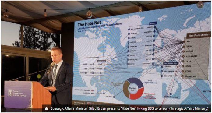 Strategic Affairs Minister Gilad Erdan præsenterer hadenetværket mod Israel - med BDS i fremtrædende rolle