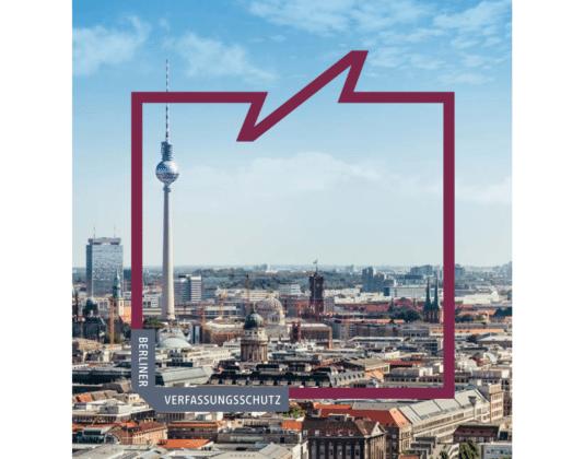 Udsnit af forsiden til Årsrapporten fra Verfassungsschutz Berlin.