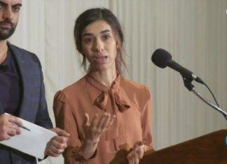 Nadia Murad. (Skærmdump fra NRK Dagsrevyen 8. oktober 2018)