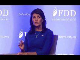 Nikki Haley, US ambassadør til FN, ved FDD Summit 28 august 2018 (Youtube)