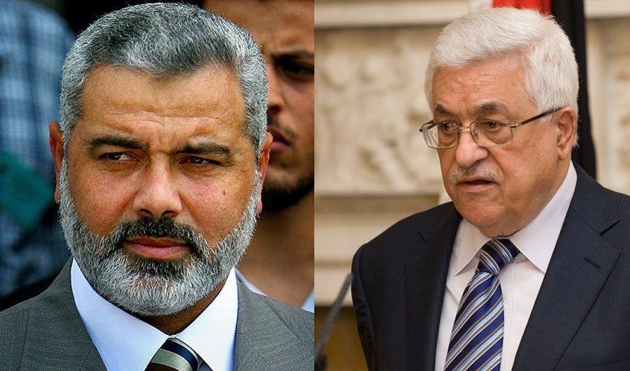 Hamas-leder Ismail Haniyeh og PA-Præsident Mahmoud Abbas fra Fatah.