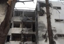Ashkelon: En person blev dræbt og to andre alvorlig skadet da en raket traf dette etagebyggeri i 2018. (Foto: Skærmdump YouTube, via MIFF.NO)