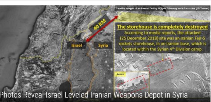 Iransk våbendepot i Syrien - ødelagt (Foto ISI/twitter=