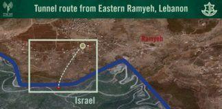 Kort der viser ruten fra Sydlibanon ind i Israel (foto: IDF Talsmand)