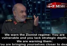 revolutionsgarde (Islamic Revolutionary Guard Corps, IRGC), Hossein Salami, truede for nylig Israel på Irans Kanal 2 TV. (Billedkilde: MEMRI)