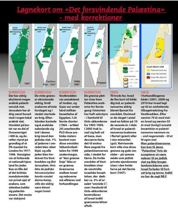 """Løgnekort om """"Det forsvindende Palæstina"""" - med korrektioner"""