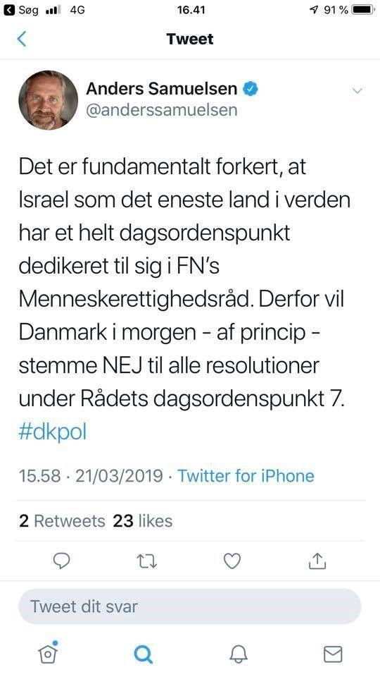 Anders Samuelsens tweet om ny dansk politik i forhold til FN Menneskerettighedsråd forskelsbehandling af Israel - 2019-03-21