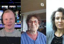 Conrad Myrland, Dina Grossman, Rika Greenberg - alle ved deres hjemmearbejdspladser