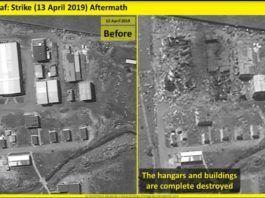 """""""Før"""" og """"efter"""" fotografier af en eventuel iransk missilfabrik i Syrien. (foto: IMAGESAT INTERNATIONAL (ISI))"""