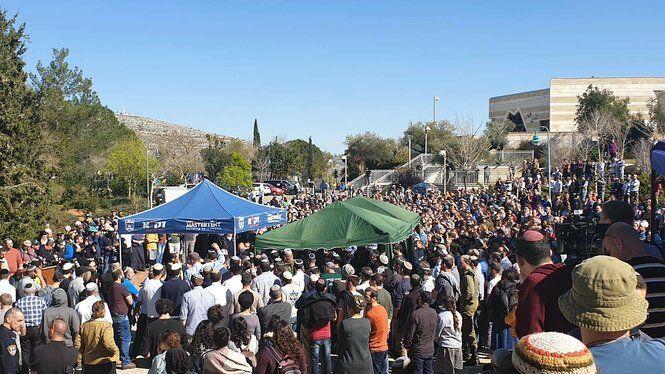 Begravelse af Rabbi Achiad Ettinger - dræbt af