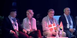 Pernille Skipper på panelet 2019-04-27 - Bemærk tørklædet. (skærmdump fra konferencen)