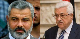 Hamas-leder Ismail Haniyeh og PA-president Mahmoud Abbas fra Fatah. (Foto: Wikimedia Commons og det britiske udenrigsministerie / Flickr.com / CC)