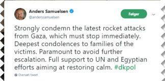 Udenrigsminister Anders Samuelsen fordømmer raketangreb fra Gaza (twitter - personlig konto)
