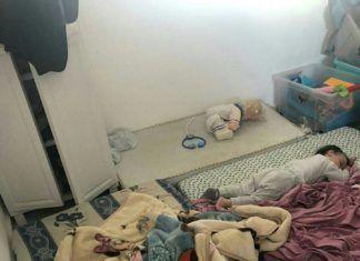 Børn sover i beskyttelsesrum (IDF: Twitter)